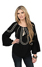 Flying Tomato Women's Black with Cream Embroidery Long Bell Sleeve Fashion Top
