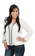 Flying Tomato Women's Ivory with Black Embroidery Long Cinched Sleeve Peasant Fashion Top