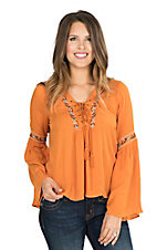 Flying Tomato Women's Pumpkin with Floral Embroidery Long Bell Sleeve Peasant Fashion Top