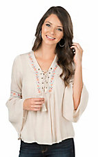 Flying Tomato Women's Tan with Floral Embroidery Long Bell Sleeve Peasant Fashion Top