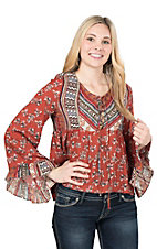 Flying Tomato Women's Rust Multi Print Long Bell Sleeve Fashion Top