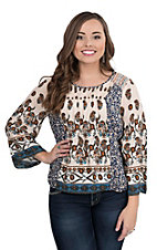 Flying Tomato Women's Taupe Floral Print Long Bell Sleeve Fashion Top