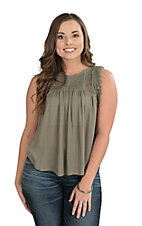 Flying Tomato Women's Olive Green with Crochet Yoke Frayed Sleeveless Fashion Top