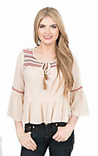Flying Tomato Women's Ivory with Native Embroidery and Ruffled Bottom 3/4 Bell Sleeve Fashion Top