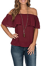 Flying Tomato Women's Maroon with Ruffled Top Off The Shoulder Cap Sleeve Fashion Top