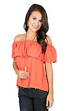 Flying Tomato Women's Orange with Ruffled Top Off The Shoulder Cap Sleeve Fashion Top