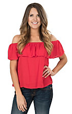 Flying Tomato Women's Red with Ruffled Top Off The Shoulder Cap Sleeve Fashion Top