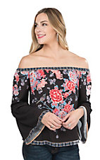 Flying Tomato Women's Black with Floral Print Long Bell Sleeve Fashion Top