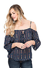 Flying Tomato Women's Navy Print with Crochet Details Cold Shoulder 3/4 Sleeve Fashion Top