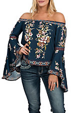 Flying Tomato Women's Navy Off the Shoulder Floral Fashion Shirt