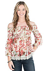 Flying Tomato Women's Cream Floral Print Long Sleeve Fashion Top