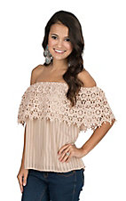 Flying Tomato Women's Blush Crochet Off Shoulder Fashion Top