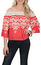 Flying Tomato Women's Coral Off the Shoulder w/ Embroidery Fashion Shirt