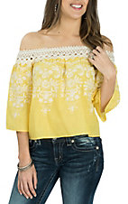 Flying Tomato Women's Yellow Off the Shoulder w/ Embroidery Fashion Shirt