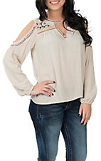 Flying Tomato Women's Cream Keyhole Cold Shoulder Embroidered Fashion Shirt