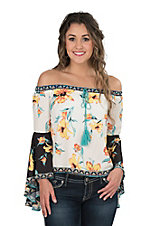 Flying Tomato Women's Ivory with Yellow Floral Peasant Top