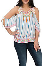 Flying Tomato Women's Ivory Tassel Print Cold Shoulder Fashion Shirt