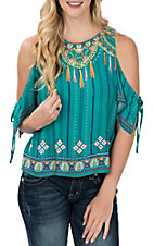 Flying Tomato Women's Teal Tassel Print Cold Shoulder Fashion Shirt