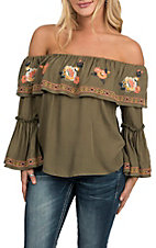 Flying Tomato Women's Olive Floral Embroidered Off the Shoulder Fashion Shirt