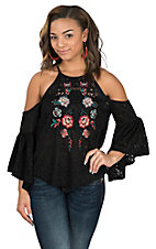 Flying Tomato Women's Black Lace Cold Shoulder Embroidered Fashion Shirt