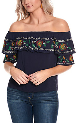 Flying Tomato Women's Navy with Crosshatch Floral Embroidery Off the Shoulder Fashion Top