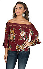 Flying Tomato Women's Burgundy Floral Off-The-Shoulder Fashion Shirt