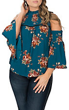 Flying Tomato Women's Teal Floral Cold Shoulder Fashion Shirt