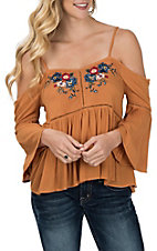 Flying Tomato Mustard Cold Shoulder w/ Embroidery Fashion Shirt