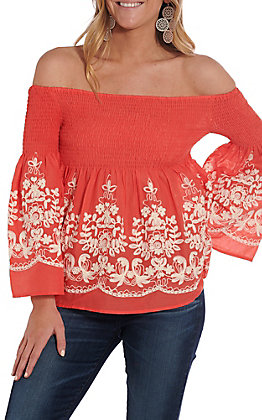 Flying Tomato Women's Coral Floral Embroidered Off The Shoulder Smocked Fashion Top