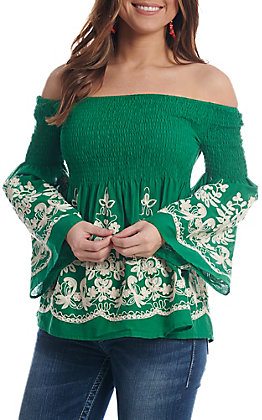 Flying Tomato Women's Green Off The Shoulder With Embroidery Smocked Fashion Top