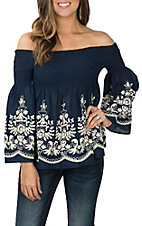 Flying Tomato Women's Navy Off The Shoulder Embroidered Fashion Shirt