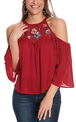 Flying Tomato Women's Burgundy with Lace Floral Embroidery Cold Shoulder 3/4 Sleeve Fashion Top
