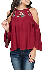 Flying Tomato Women's Burgundy Cold Shoulder w/ Embroidery Fashion Shirt
