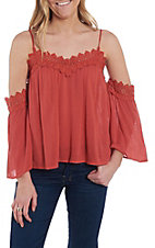 Flying Tomato Women's Red Cold Shoulder Lace Top