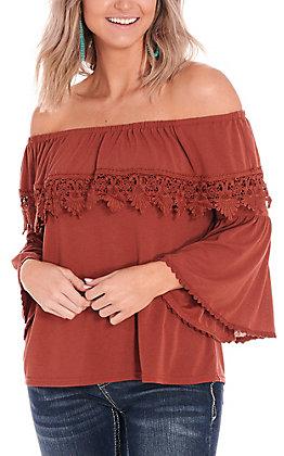 Rockin C Women's Rust Crochet Lace Off the Shoulder Fashion Top