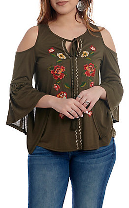 Flying Tomato Women's Olive Floral Cold Shoulder Bell Sleeve Fashion Top