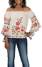 Flying Tomato Women's Ivory Floral off the Shoulder Bell Sleeved Fashion Shirt