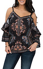 Flying Tomato Women's Black Floral Cold Shoulder Fashion Shirt