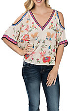 Flying Tomato Women's Ivory Bird Print Cold Shoulder Fashion Shirt