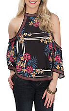 Flying Tomato Women's Black Floral Print High Neck Cold Shoulder Fashion Shirt