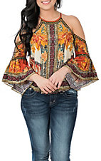 Flying Tomato Women's Rust Floral Print Cold Shoulder Fashion Shirt