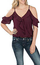 Moa Moa Women's Lollipop Dark Plum Cold Shoulder Top