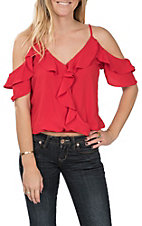 Moa Moa Women's Lollipop Red Ruffle Cold Shoulder Top