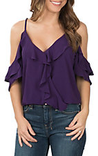 Moa Moa Women's Purple Ruffle Cold Shoulder Top