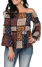 Moa Moa Women's Patchwork Off the Shoulder Fashion Top