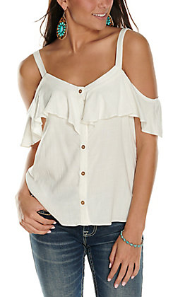 Moa Moa Women's White Button Down Ruffle Sleeveless Cold Shoulder Fashion Top