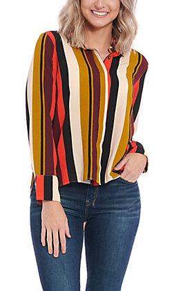 Moa Moa Women's Multi Color Striped Long Sleeve Fashion Top