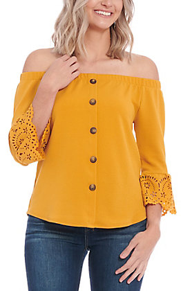 Moa Moa Women's Mustard Off The Shoulder Fashion Top