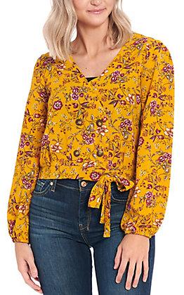 Moa Moa Women's Mustard Floral Print Wrap Top