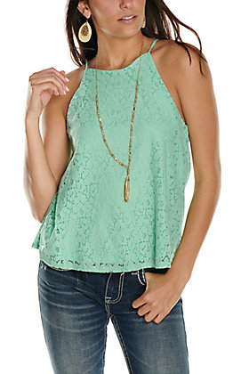 Moa Moa Women's Mint Lace Sleeveless Tank Top